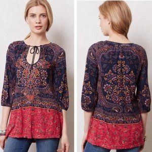 Anthropologie Meadow Rue Paisley Peasant Tunic